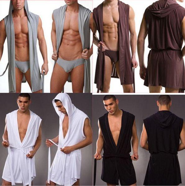 Toptan-Erkekler Seksi Bornoz Banyo Robe / Erkek Seksi Iç Çamaşırı Pijama Pijama / Külot Olmadan Erkekler Gecelik Bornozlar