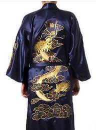 Argentina Venta al por mayor-R2 azul marino de satén de seda de los hombres chinos bordar kimono bata de dragón S M L XL XXL XXXL supplier navy blue kimono robe Suministro