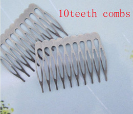 Wholesale Metal Tooth Comb - Wholesale-50pcs Silver Gray Metal Hair Combs (10 teeth) 53x38mm