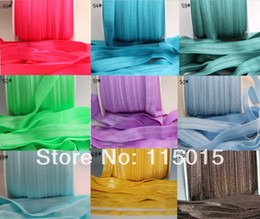 wholesale foe elastic Canada - Wholesale-55 Colors !!! Fold Over Elastic 10 yd color 5 8 inch FOE - YOU CHOOSE Colors - Shiny for elastic Headbands Hair Ties Hairbow