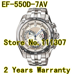 Wholesale Function Date - Wholesale-EF-550D-7AV New Men's white dial sport watch EF-550D EF 550D White Dial Wristwatch With 1 20 Stopwatch Pendulum Function