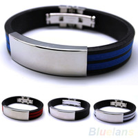 Wholesale Multi Colour Bracelet - Wholesale-Mens Stainless Steel Bracelet Rubber Black Silver Multi colour Fashion jewelry Sport 00IF