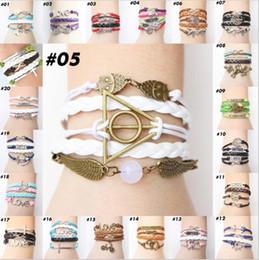 Wholesale Hunger Games Charm Bracelet - Wholesale-2015 The Newest Metal Hunger Games Birds Infinity Bracelet Leather Multilayer bracelet 3B001-3B019