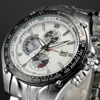вахта стали curren оптовых-Wholesale-Fashion Calendar 3 DIal Decoration White Dial Sport Quartz Full Steel Wristwatch Fashion Casual Male Curren Watch Men / CUR023