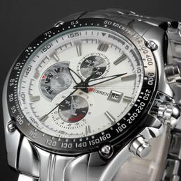 Оптовая продажа-мода Календарь 3 циферблат украшения белый циферблат Спорт кварц полный стали наручные часы мода повседневная мужской Curren часы мужчины / CUR023 от