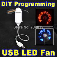 mesaj fanları toptan satış-Toptan-DIY Esnek LED Işık USB Fan Programlama Herhangi Bir Metin Düzenleme Reprogramme Karakter Reklam Mesajı Duyguları Selamlar