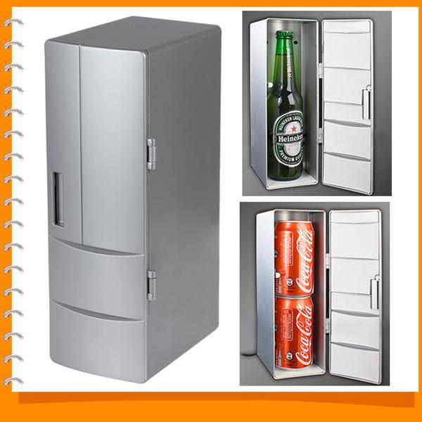 Al por mayor-Portátil Mini USB Refrigerador Refrigerador Mini USB PC Refrigerador Bebidas Bebidas Latas Congelador para el hogar Nuevo Gadget Cool - Plug and Play