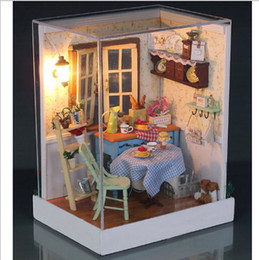 Wholesale Miniature Diy Assemble Toys - Wholesale-Diy Doll House Miniature Model Building Kits Handmade Assembled Wooden Dollhouse Toy Christmas and Brithday Gift-Miniature