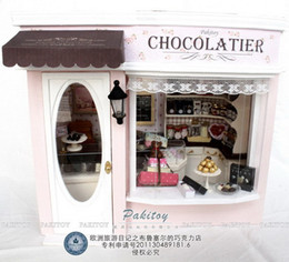 Wholesale Diy Puzzle House - Wholesale-Diy Handmade Wooden 3D Model Doll House Puzzle Miniature Dollhouse Creative Birthday Gift Toy-Chocolate shop in Brussels