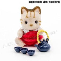 Wholesale Dollhouse Cups - Wholesale-1:12 Dollhouse Miniature Metal Kung fu Tea Cup Set with Teapot Doll house Toys
