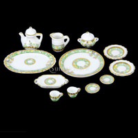 Wholesale Dollhouse Cups - Wholesale-New 2015 Brand New 12pcs Dollhouse Miniature Dining Ware Porcelain Tea Set Dish Cup Plate Free Shipping