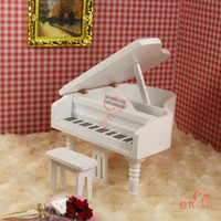 Wholesale Piano Grand - Wholesale-1:12 doll house mini furniture model Medium pure white grand piano belt drear 22020