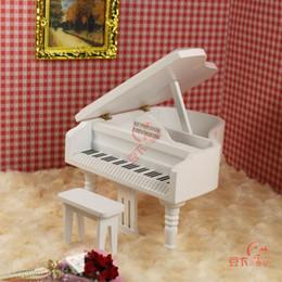 Wholesale Mini Model Furniture - Wholesale-1:12 doll house mini furniture model Medium pure white grand piano belt drear 22020