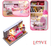 Wholesale 3d Wooden Model Assembly - Wholesale-Diy Doll House Miniature 3D Handmade Wooden Assembly Dollhous Model Building Kits Creative Birstday gift-Perfect Wedding