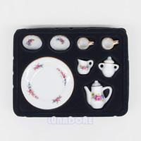 Wholesale Dolls House Tea Set - Wholesale-1:12 8PCS Porcelain Tea Set Porcelain White Tea Set Afternoon Tea Miniature Toy Mini Doll Houses For Re-ment Orcara Decoration