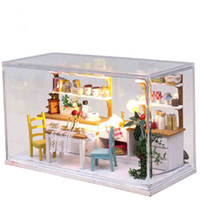 Wholesale Wooden Doll Kitchen - Wholesale-DIY Doll House Model Building Kit Wooden 3D Handmade Miniature Dollhouse With Furniture Toy Greative Birthday Gift Sweet Kitchen