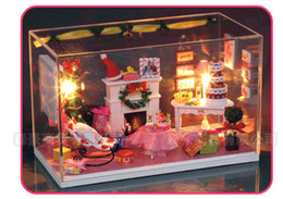 Wholesale Miniature Wooden Dolls House Kit - Wholesale- Diy Doll House Model Building Kits Miniature Handmade Wooden Dollhouse Toy Christmas Birthday Greative Gifts-Merry Christmas