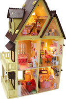 Wholesale Building Model Making - Wholesale-Hand-made wood DIY doll house educational toys,1:12 large house 3d dollhouses,assembled building model,Creative Christmas gift