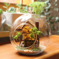 Wholesale Mini Doll Houses - Wholesale-New arrival! 2015 Christmas gift hand-made DIY wood doll house toys,Assembling Model Glass Ball dollhouse - Mini forest islands