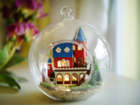 Wholesale Handmade Toy Castle - Wholesale-2015 New year Christmas Gift DIY wooden doll house Building model toys handmade glass balls dollhouse - Alice Dream Castle