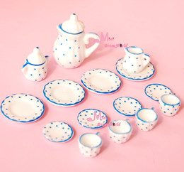 Wholesale Dollhouses China - Wholesale-LOT OF 15PCS Blue Dot Dollhouse Miniature porcelain China Coffee Tea Lid Pot Cups DC129