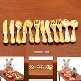 Wholesale Miniature Dollhouse Tools - Wholesale-1 12 Kitchen Kitchenware Gold Cookware Dinner Knife Fork Spoon Miniature Dollhouse Kitchen Set Cooking Tools Utensils Promotion!