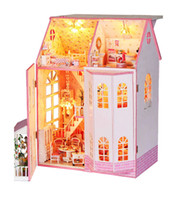 Wholesale fairy tale house - Wholesale-Large 3d house model Christmas gift (Dream fairy tale) DIY wood doll house birthday gift Model Building Kits dollhouses
