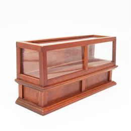 Schaufensterzähler online-Wholesale-1: 12 Miniatur Puppenhaus Möbel Brown Display Bäckerei Ladentheke ShowCase Puppenhäuser Geschenk