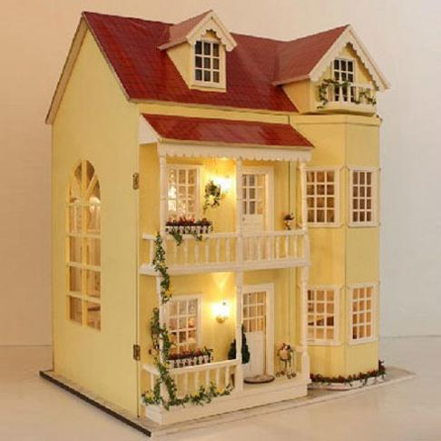 Wholesale hot sale large 3d handmade diy wood doll house for Stationary tiny houses for sale