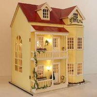рождественские феи куклы оптовых-Wholesale-Hot sale! Large 3D Handmade DIY wood doll house,Assemble model toy dollhouses,Christmas/birthday/wedding gift (Years Fairy Home)