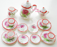 Gros-LOT DE 15PCS Carnation Dollhouse Miniature Toy porcelaine Chine Thé Couvercle Pot Cups