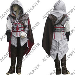 Wholesale Ezio Costume Kids - Wholesale-For Kids Wholesale Hot Sell Assassin's Creed Ii Ezio Costume,Assassins Creed Cosplay Costume---Free shipping