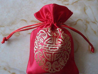 Wholesale Chinese Small Party Gifts - Chinese Joyous Small Silk Brocade Christmas Candy Bag Wedding Birthday Party Favor Lavender Gift Tea Packaging Pouch Wholesale 50pcs  lot