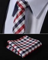 "Wholesale Ascot Men Ties - Wholesale-TC350R5 Red Blue Check 2.17"" 100%Silk Jacquard Woven Slim Skinny Narrow Men Tie Necktie Handkerchief Pocket Square Suit Set"