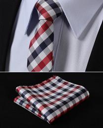 "Wholesale Men Red Skinny Tie - Wholesale-TC350R5 Red Blue Check 2.17"" 100%Silk Jacquard Woven Slim Skinny Narrow Men Tie Necktie Handkerchief Pocket Square Suit Set"