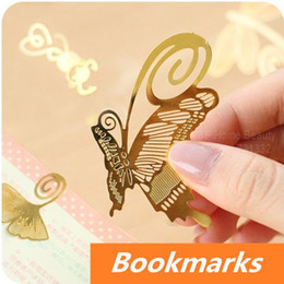 Wholesale Novelty Material - Wholesale-10 pcs Lot Gold metal bookmark for Book Page Holder Novelty book marker kawaii stationary office materials School supplies 6409
