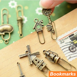 Wholesale Vintage Paper Clips - Wholesale-60 pcs in 30 bags Metal Bookmarks Paper clip Page Holder Vintage book marker marcapaginas stationery School supplies 6439