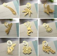 Wholesale Wholesale Metal Spring Clips - Wholesale-Wholesale(32pcs lot) Spring Series Multi designs Gold Color iron Clip Bookmark   metal book clip