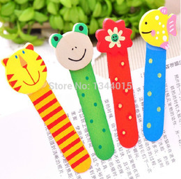 Wholesale Rulers For School - Wholesale-10pcs lot Kawaii Cartoon Wooden Bookmark For Books Ruler Book Marker 11cm Office&School Supplies