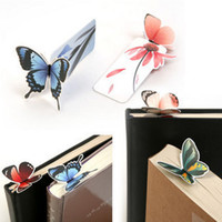 Wholesale Student Paper - Wholesale-50pcs lot Korea Stationery Cute Butterfly Paper Bookmarks Delicate Gifts Animal Bookmarks For School Student Books Wholesale