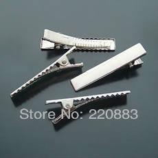 Wholesale Diy Metal Pins - Wholesale-Promotion 100pcs single Prong metal clip Barrette diy Clips hair pin Rhodium Plated Aligator clips heawear HairOrnament46x8x10mm
