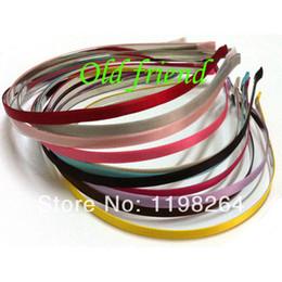 Wholesale Satin Covered Headbands - Wholesale-5mm Satin Ribbon Lined Metal headbands, Fashion Satin Covered Metal headbands 60 lot 15 color free shipping