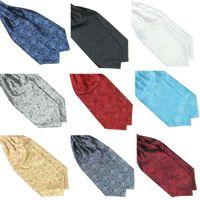 Wholesale Mens Cravat Ties - Wholesale-Hot Hot Ascot Tie Cravat Mens Neck Tie Satin Scarf Self Tie For Wedding