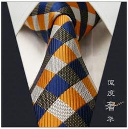 Vestido jacquard amarillo online-Al por mayor-Checked Yellow Grey Blue Silver Mens Neckties Lazos 100% Seda Jacquard Woven Blue Modas Mens Tie Casual Dress Ties For Men