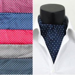 Wholesale polka dotted scarves - Wholesale-Fashion Polka Dot Men Long Silk Scarves Cravat Ascot Ties Handkerchief Gentlemen Wholesale Free Shipping