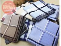 Wholesale Vintage Ascot Cravat - Wholesale-40*40cm 20pcs lot Classic Men Pocket Square 100% Cotton plaid Handkerchiefs Ladies Hankerchiefs Vintage Hankies free shipping