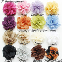 Wholesale Burlap Baby - Wholesale-Wholesale 3inch Burlap rose flower, Linen fabric flowers for baby girl headbands Hair Accessories