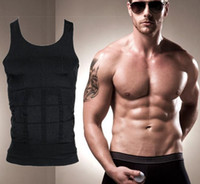 Wholesale Tummy Trimmer Vest - Wholesale-FREE SHIPPING! MENS BLACK BODY SHAPER TUMMY TRIMMER WEIGHT LOSE CONTRAL CINCHER T-SHIRTS TANK TOPS VEST UNDERSHIRT SINGLET 10002