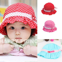 Wholesale Girl Baby Hats Sun Flower - Wholesale-Kids Toddlers Baby Girls Sun Hat Polka Dot Flower Bucket Cap Bowknot Pearl Hat Free shipping & Drop shipping