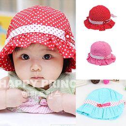Wholesale Ball Bucket - Wholesale-Kids Toddlers Baby Girls Sun Hat Polka Dot Flower Bucket Cap Bowknot Pearl Hat Free shipping & Drop shipping